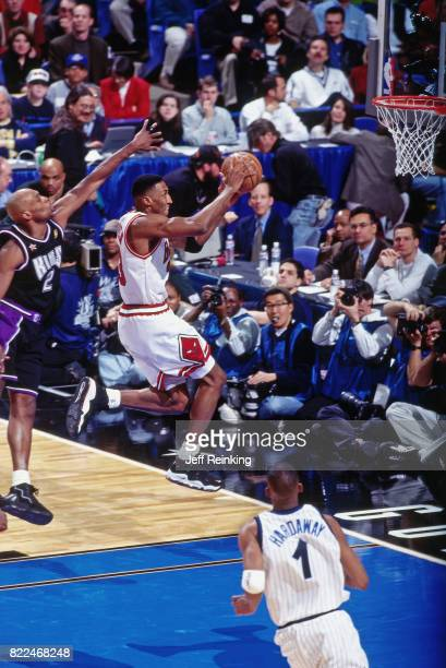 Scottie Pippen of the Chicago Bulls shoots during the 1997 AllStar Game on February 9 1997 at Gund Arena in Cleveland Ohio NOTE TO USER User...