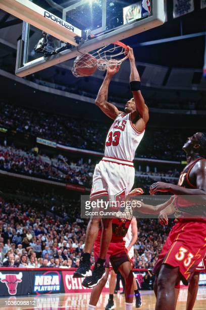 Scottie Pippen of the Chicago Bulls shoots the ball during the game against the Atlanta Hawks on May 8 1997 at the United Center in Chicago IL NOTE...