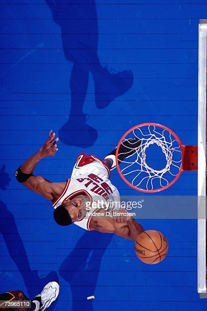 Scottie Pippen of the Eastern Conference shoots against the Western Conference during the 1997 AllStar Game on February 9 1997 at Gund Arena in...