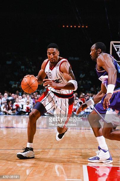 Scottie Pippen of the Houston Rockets during the game against the Utah Jazz on April 30 1999 at Compaq Center in Houston Texas