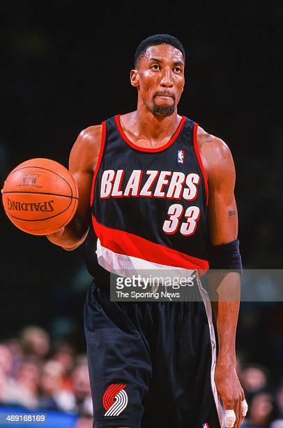 Scottie Pippen of the Portland Trail Blazers moves the ball during the game against the Houston Rockets on December 21 1999 at Compaq Center in...