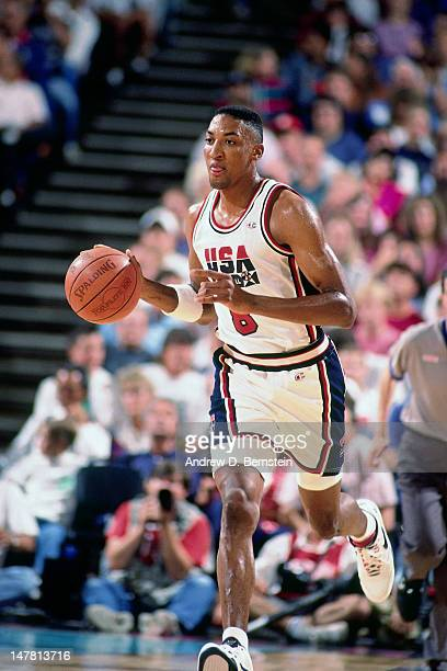 Scottie Pippen of the United States dribbles the ball against Cuba during the Basketball Tournament of Americas on June 28 1992 at the Veterans...