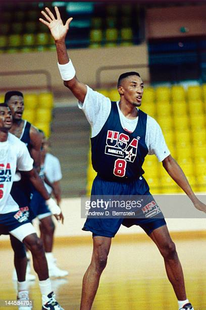 Scottie Pippen of the United States National Team defends during a practice in June 1992 in La Jolla California NOTE TO USER User expressly...