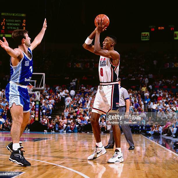 Scottie Pippen of the United States shoots against Cuba during the Basketball Tournament of Americas on June 28 1992 at the Veterans Memorial...