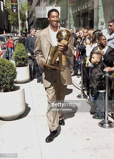 Scottie Pippen with The 2006 NBA Finals Trophy during NBA Legends Scottie Pippen and Walt 'Clyde' Frazier Announce 2006 Finals Trophy Tour at NBA...