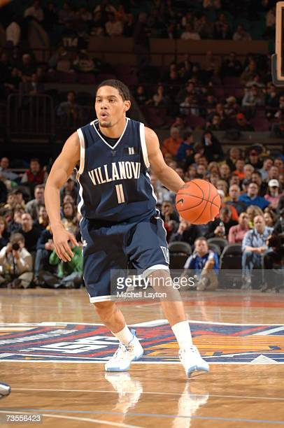 Scottie Reynolds of the Villanova Wildcats dribbles the ball during a game against the Georgetown Hoyas in the Big East College Basketball Tournament...
