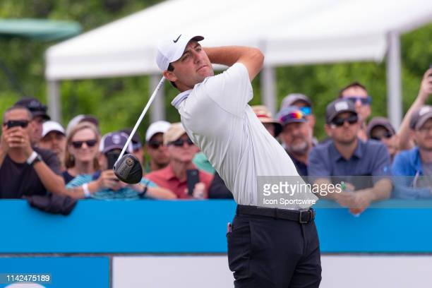 Scottie Scheffler hits his opening tee shot on during the first round of the ATT Byron Nelson on May 9 2019 at Trinity Forest Golf Club in Dallas TX