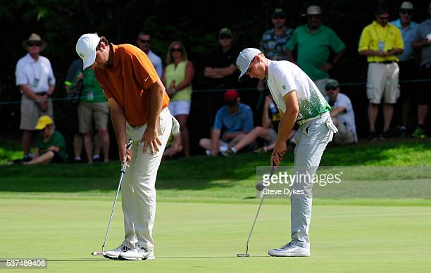 Scottie Scheffler of Texas ball and Aaron Wise of Oregon practice their putts on the ninth hole during the final round of the 2016 NCAA Division I...