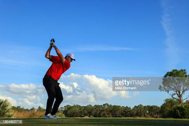 Scottie Scheffler of the United States plays his shot from the 16th tee during the final round of World Golf Championships-Workday Championship at...
