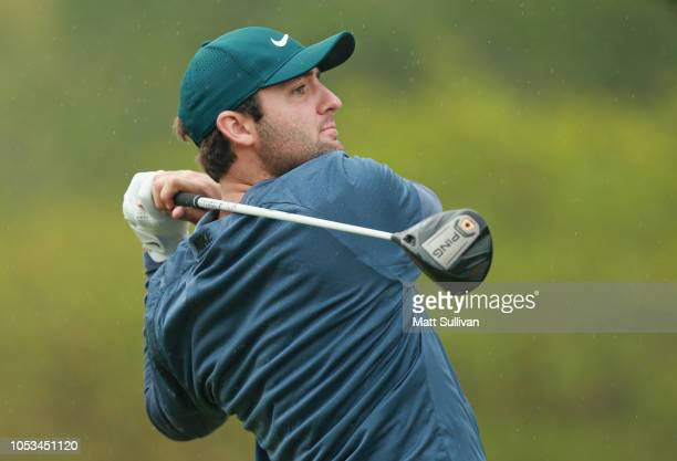 Scottie Scheffler watches his tee shot on the sixth hole during the first round of the Sanderson Farms Championship at the Country Club of Jackson on...