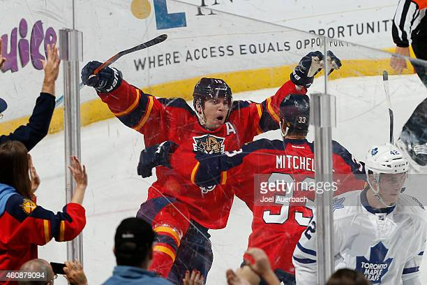 Scottie Upshall of the Florida Panthers celebrates after scoring the final goal of the game against the Toronto Maple Leafs at the BBT Center on...