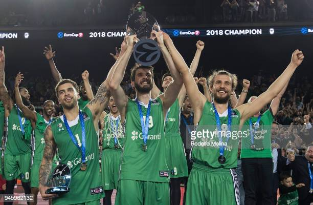 Scottie Wilbekin #1 Furkan Aldemir #19 and Dogus Ozdemiroglu #18 of Darussafaka Istanbul celebrates at the end of the 7DAYS EuroCup Basketball Finals...