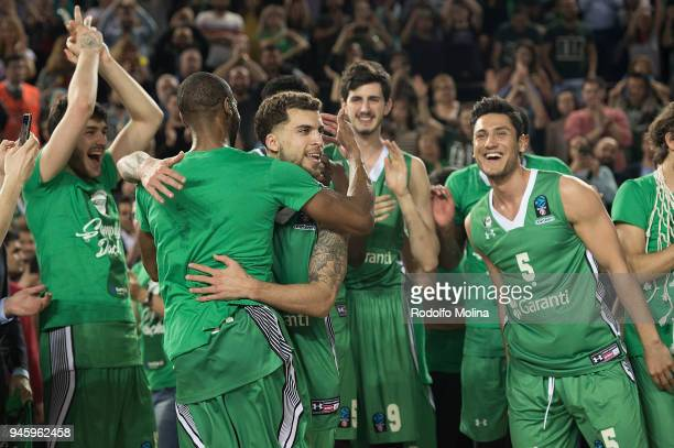 Scottie Wilbekin #1 of Darussafaka Istanbul celebrates at the end of the 7DAYS EuroCup Basketball Finals game two between Darussafaka Istanbul v...