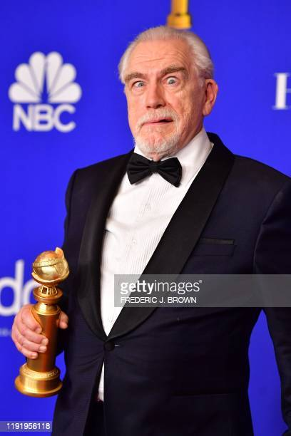 Scottish actor Brian Cox poses in the press room with the award for Best Performance by an Actor In A Television Series Drama during the 77th annual...