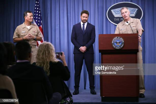 Scottish Actor Gerard Butler and Vice Admiral Fritz Roegge talk to reporters during a news briefing about Butler's new submarine action film 'Hunter...