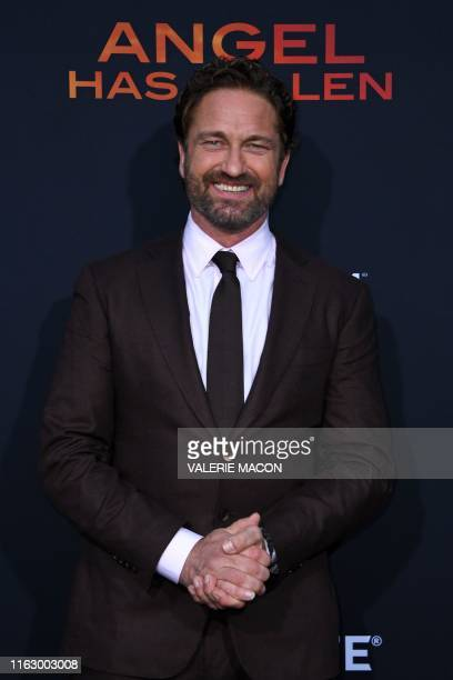"""Scottish actor Gerard Butler arrives for the Los Angeles premiere of """"Angel Has Fallen"""" at the Regency Village theatre on August 20, 2019 in..."""