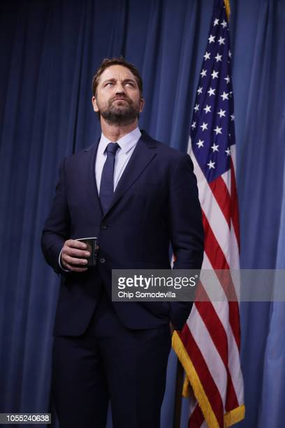 Scottish Actor Gerard Butler participates in a news conference about his new submarine action film 'Hunter Killer' at the Pentagon October 15 2018 in...