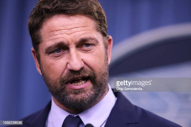 Scottish Actor Gerard Butler talks about his experience with the US Navy during a news briefing about his new submarine action film 'Hunter Killer'...