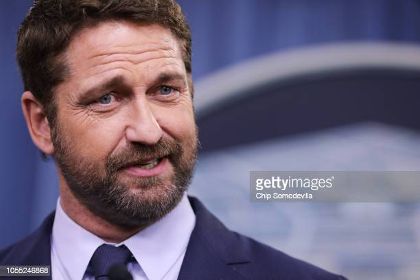 Scottish Actor Gerard Butler talks about his new submarine action film 'Hunter Killer' during a news conference at the Pentagon October 15, 2018 in...
