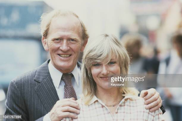 Scottish actor Gordon Jackson with English actress Belinda Carroll 9th December 1981 They are costarring in the play 'Cards on the Table' at the...