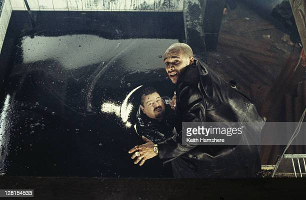 Scottish actor Robbie Coltrane as Valentin Dmitrovich Zukovsky and musician Goldie as henchman Mr Bullion in the James Bond film 'The World Is Not...