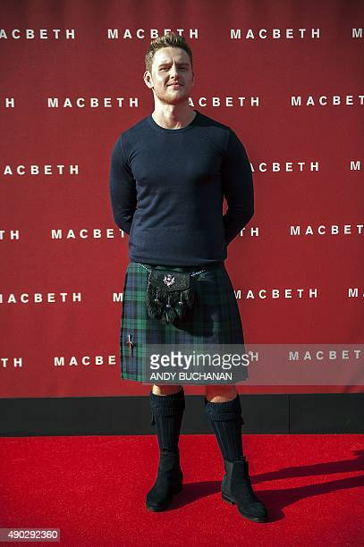 Scottish actor Ross Anderson poses on arrival for the premiere of Macbeth at the Festival Theatre in Edinburgh Scotland on September 27 2015 BUCHANAN