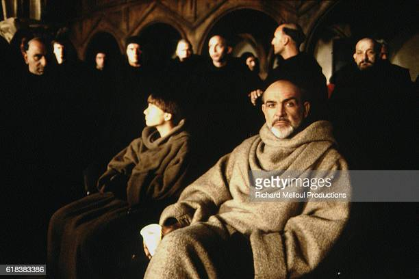 Scottish actor Sean Connery and American actor Christian Slater on the set of The Name of the Rose directed by French Jean-Jacques Annaud.