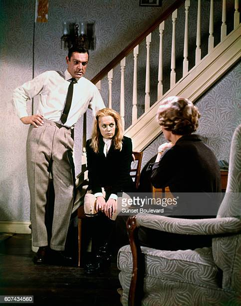 Scottish actor Sean Connery and American actress Tippi Hedren on the set of Marnie based on the novel by Winston Graham and directed and produced by...