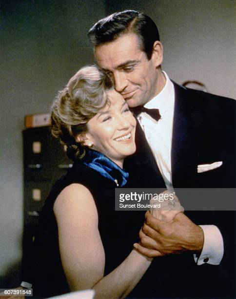 Scottish actor Sean Connery and Canadian actress Lois Maxwell on the set of From Russia with Love, directed by Terence Young.