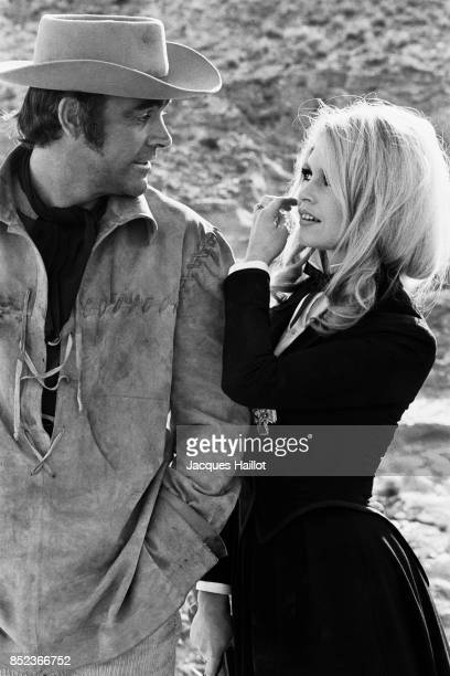 Scottish actor Sean Connery and French actress Brigitte Bardot on the set of Shalako based on the novel by Louis Lamour and directed by Edward Dmytryk