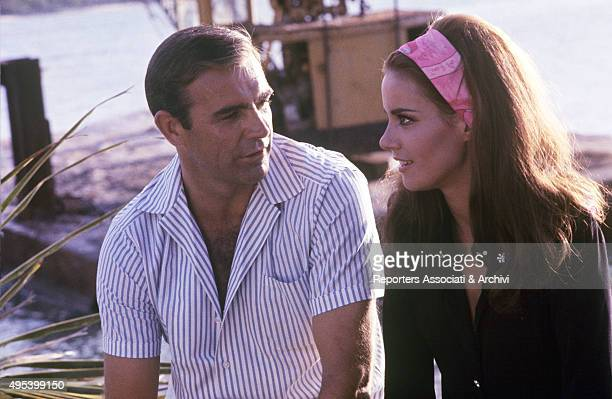 Scottish actor Sean Connery and French actress Claudine Auger speaking in the film Thunderball 1965