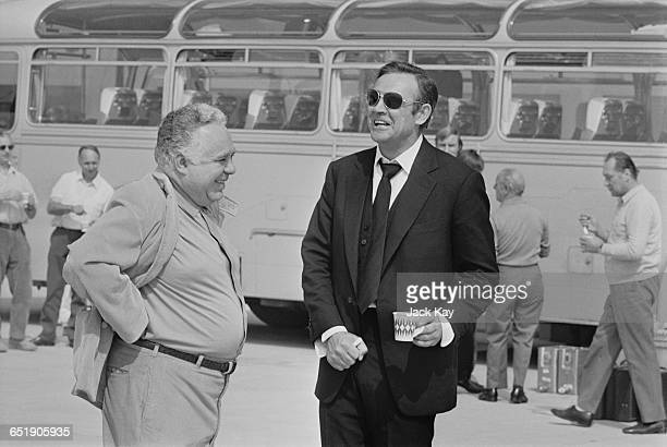 Scottish actor Sean Connery and producer Harry Saltzman on location in Amsterdam for the shooting of the latest James Bond film 'Diamonds are...