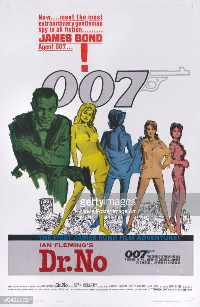 Scottish actor Sean Connery appears on the poster for the James Bond 007 movie 'Dr No' 1962