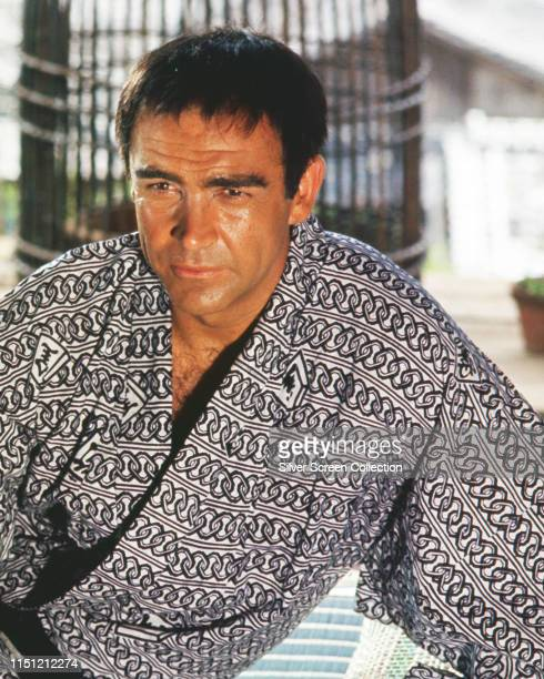 Scottish actor Sean Connery as James Bond attempting to pass as a Japanese fisherman in the film 'You Only Live Twice' 1967