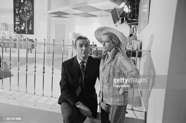 Scottish actor Sean Connery pictured with Italian actress Luciana Paluzzi during the shooting of a scene from the James Bond film 'Thunderball' at...
