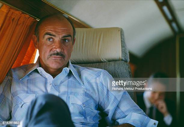 Scottish actor Sean Connery sits aboard a private airplane on his way to the Cannes Film Festival In 1981 he completed two films Time Bandits and...