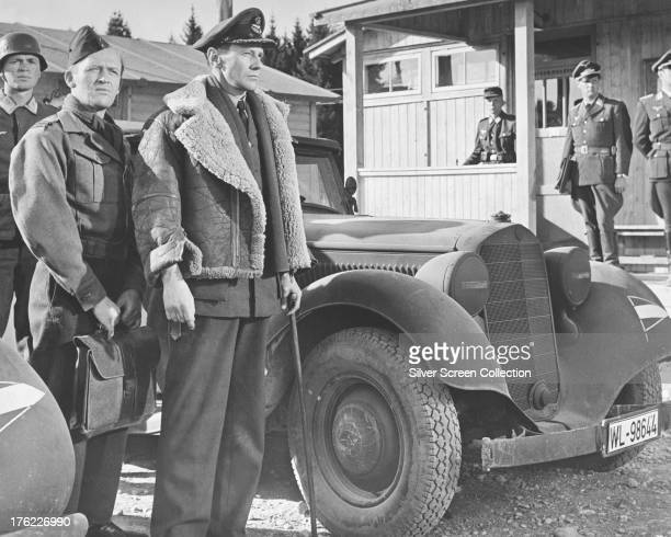 Scottish actors Gordon Jackson , as Flight Lieutenant Sandy MacDonald, and James Donald as Group Captain Ramsey in 'The Great Escape', directed by...
