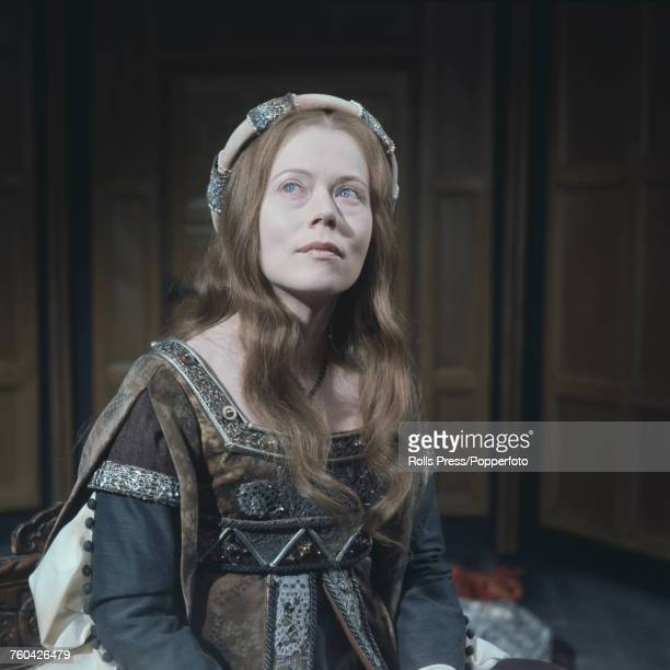 Scottish actress Annette Crosbie pictured dressed in period costume as Catherine of Aragon during production of the BBC TV series 'The Six Wives of...
