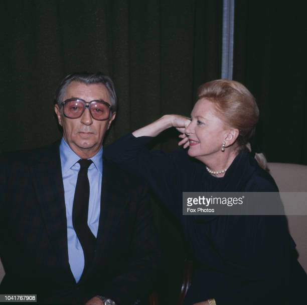 Scottish actress Deborah Kerr and American actor Robert Mitchum who are to costar in a new film 'Reunion at Fairborough' 1984