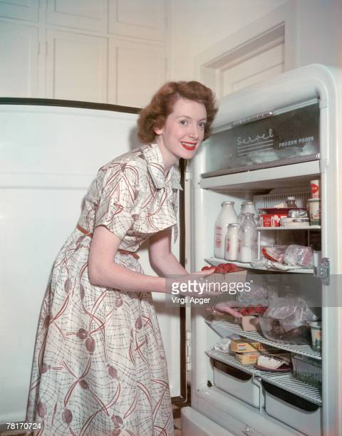 Scottish actress Deborah Kerr in the kitchen of her home at Pacific Palisades Los Angeles 26th April 1949