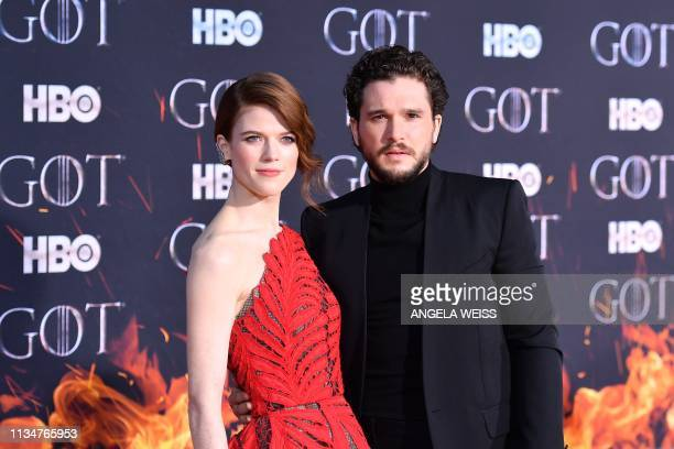 Scottish actress Rose Leslie and husband British actor Kit Harington arrive for the Game of Thrones eighth and final season premiere at Radio City...