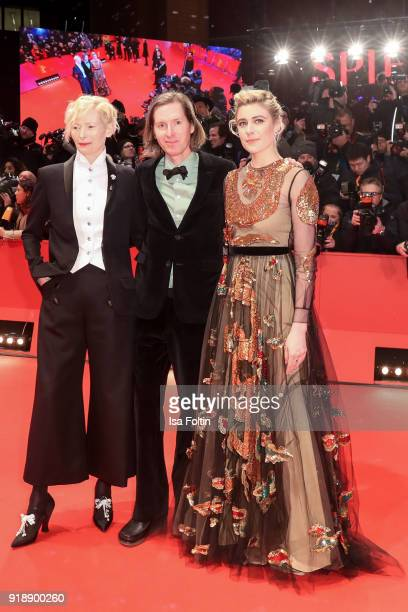 Scottish actress Tilda Swinton US director Wes Anderson and US actress Greta Gerwig attend the Opening Ceremony 'Isle of Dogs' premiere during the...