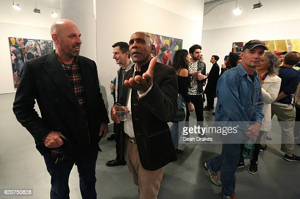 Scottish artist Peter Doig and artist Denzil Forrester originally from Grenada during the opening reception for Mr Forrester's first solo exhibit in...