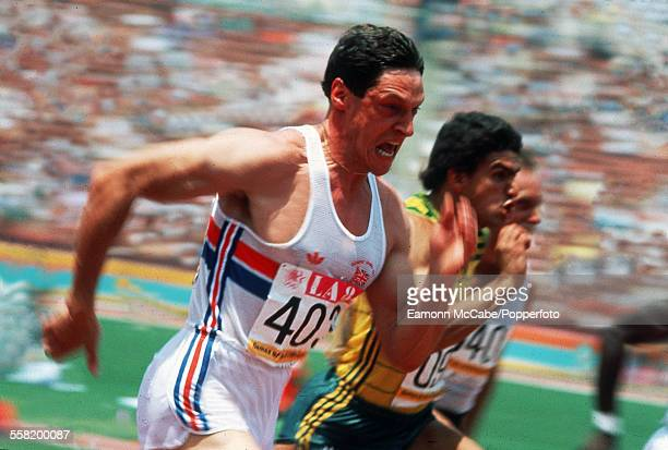 Scottish athlete Allan Wells competing for Great Britain in the 100 Metres event at the Olympic Games Los Angeles Memorial Coliseum Los Angeles...