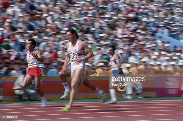 Scottish athlete Allan Wells in action during the 100 metres heats at the 1984 Olympic Games at the Coliseum Stadium Los Angeles 3rd August 1984