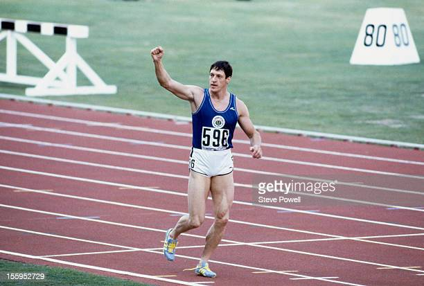 Scottish athlete Allan Wells wins the 100 Metres at the Commonwealth Games in Brisbane Australia 1982