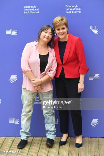 Scottish author Ali Smith and First Minister of Scotland Nicola Sturgeon attend a photocall during the annual Edinburgh International Book Festival...