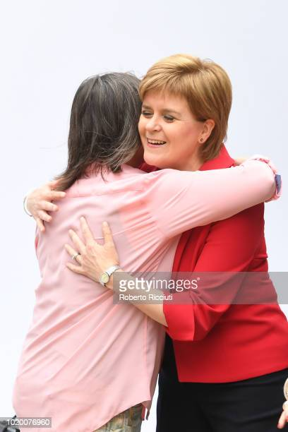 Scottish author Ali Smith and First Minister of Scotland Nicola Sturgeon meet before attending a photocall during the annual Edinburgh International...