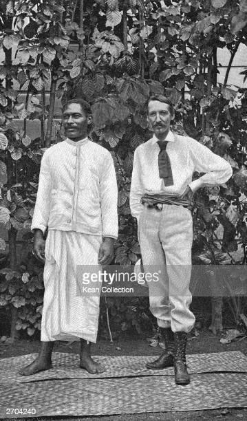 Scottish author Robert Louis Stevenson standing with an unidentified Samoan man, Upolu, Samoa, circa 1889.