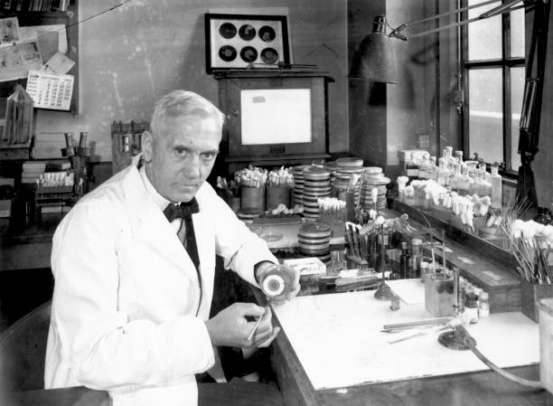 Scottish bacteriologist Sir Alexander Fleming in his...